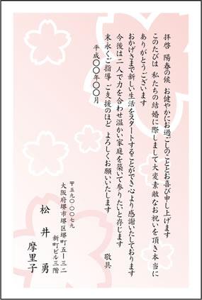 お礼状はがきの無料テンプレートです。桜のイラスト。
