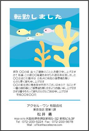パステル調の魚のイラストの転勤挨拶状はがきの無料テンプレートです。